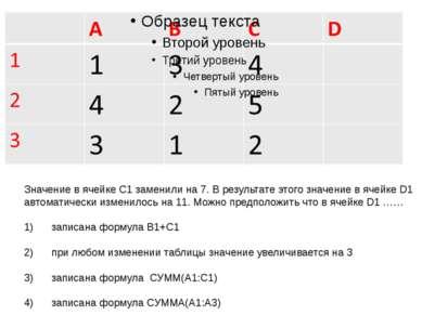 Значение в ячейке С1 заменили на 7. В результате этого значение в ячейке D1 а...
