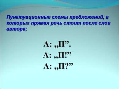 Пунктуационные схемы предложений, в которых прямая речь стоит после слов авто...
