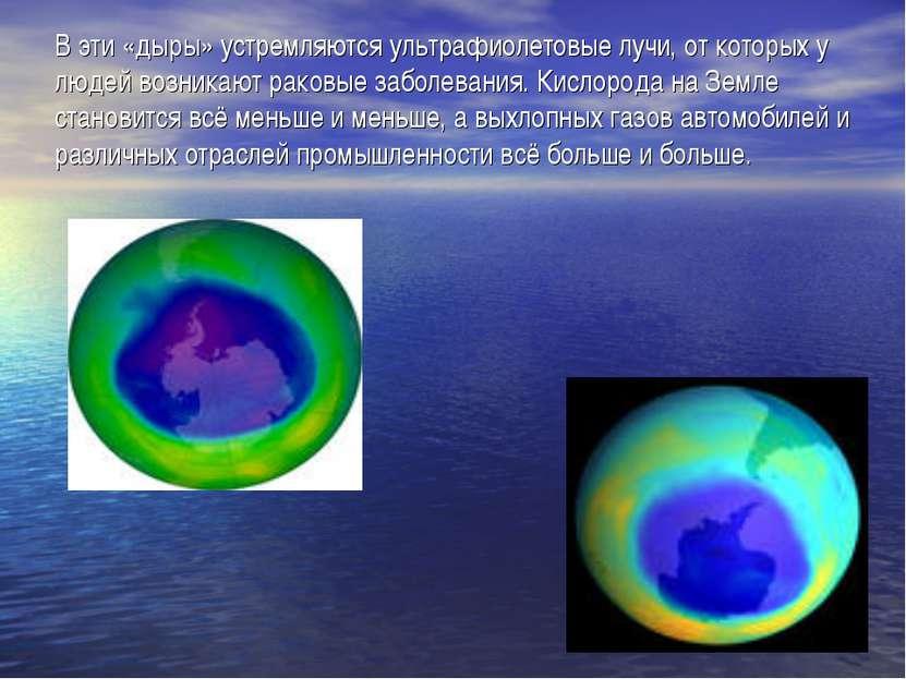 В эти «дыры» устремляются ультрафиолетовые лучи, от которых у людей возникают...