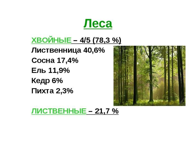 Леса ХВОЙНЫЕ – 4/5 (78,3 %) Лиственница 40,6% Сосна 17,4% Ель 11,9% Кедр 6% П...