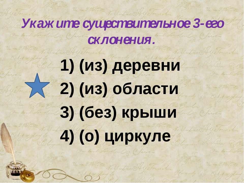 Укажите существительное 3-его склонения. 1) (из) деревни 2) (из) области 3) (...