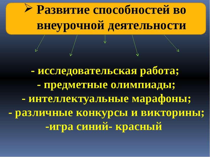 Развитие способностей во внеурочной деятельности - исследовательская работа; ...