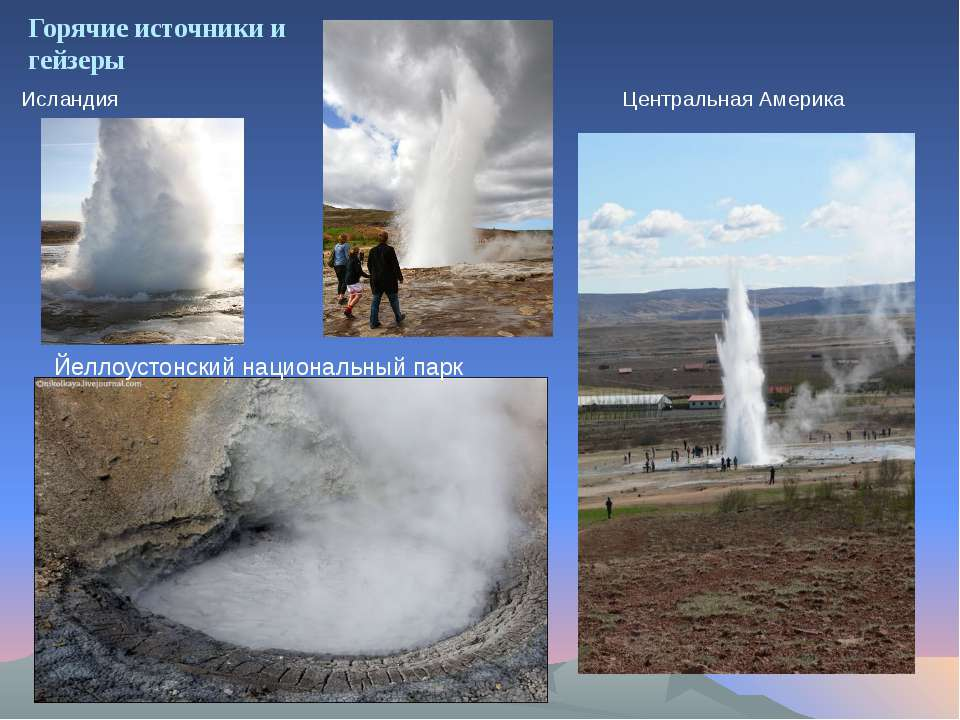 Горячие источники и гейзеры Исландия Центральная Америка Йеллоустонский нацио...