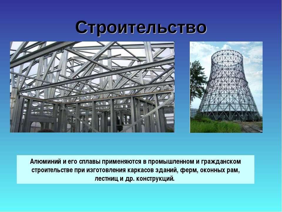 Строительство Алюминий и его сплавы применяются в промышленном и гражданском ...