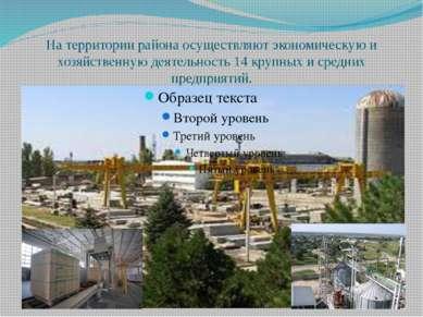 На территории района осуществляют экономическую и хозяйственную деятельность ...