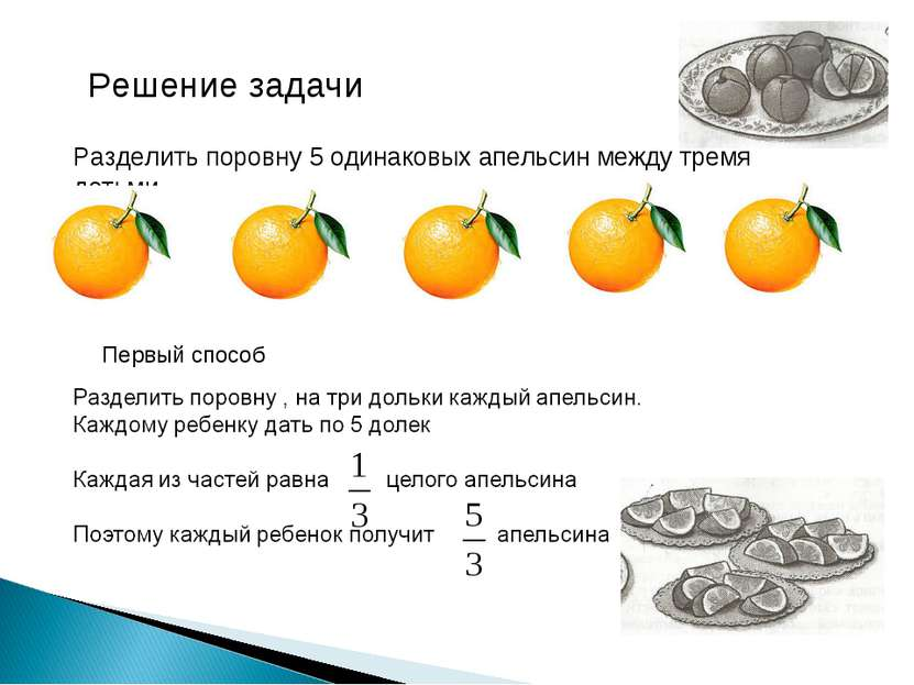 Решение задачи Разделить поровну 5 одинаковых апельсин между тремя детьми. Пе...