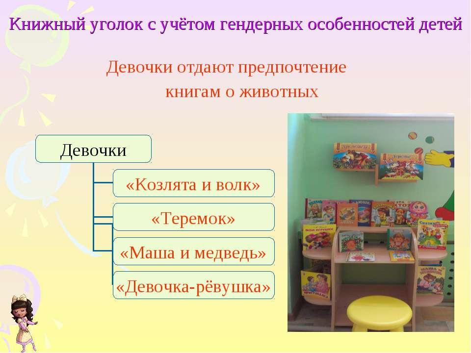 Книжный уголок с учётом гендерных особенностей детей Девочки отдают предпочте...