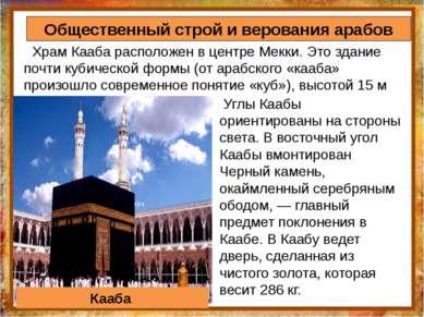 Храм Кааба расположен в центре Мекки. Это здание почти кубической формы (от а...