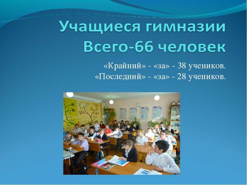 «Крайний» - «за» - 38 учеников. «Последний» - «за» - 28 учеников.