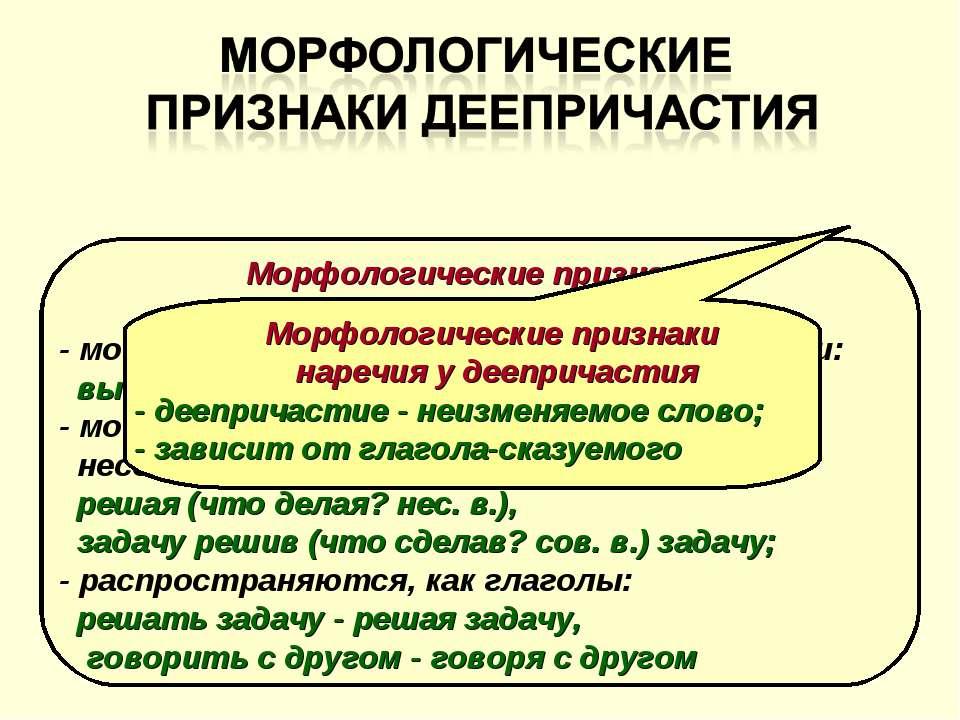Морфологические признаки глагола у деепричастия - могут быть возвратными и не...
