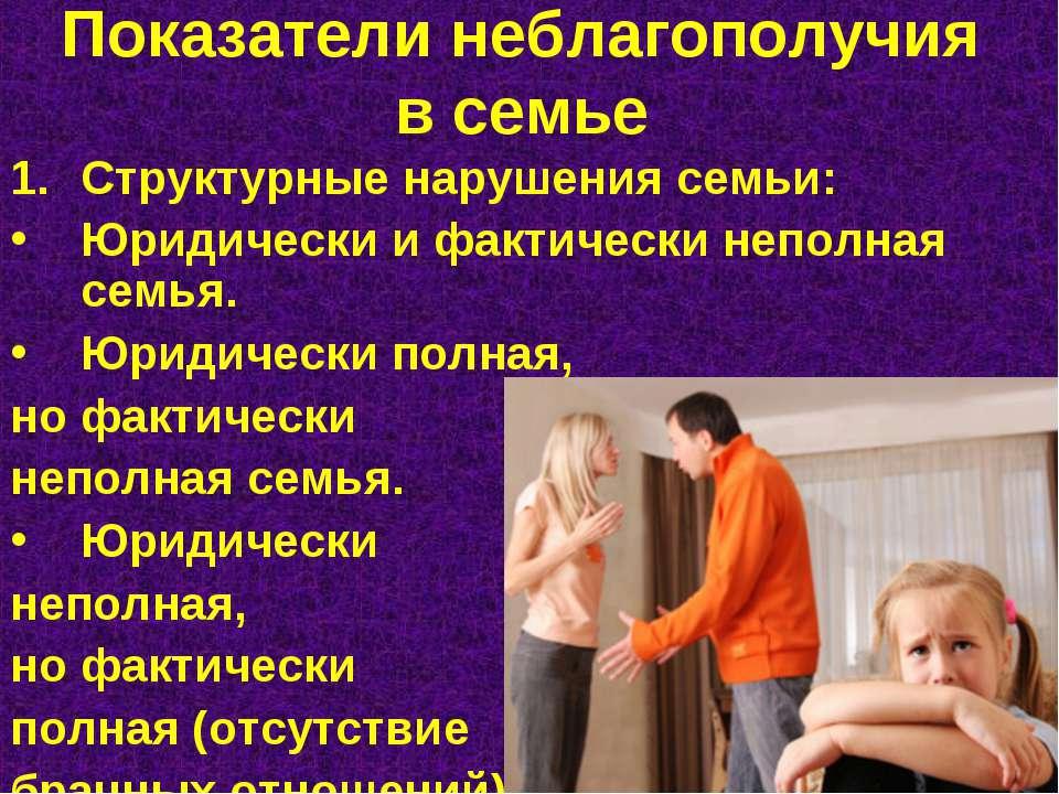 Показатели неблагополучия в семье Структурные нарушения семьи: Юридически и ф...