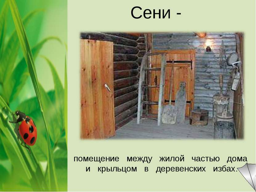Сени - помещение между жилой частью дома и крыльцом в деревенских избах.