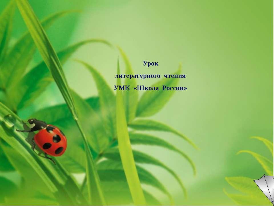 Урок литературного чтения УМК «Школа России»