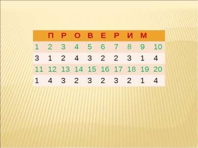 П Р О В Е Р И М 1 2 3 4 5 6 7 8 9 10 3 1 2 4 3 2 2 3 1 4 11 12 13 14 15 16 17...