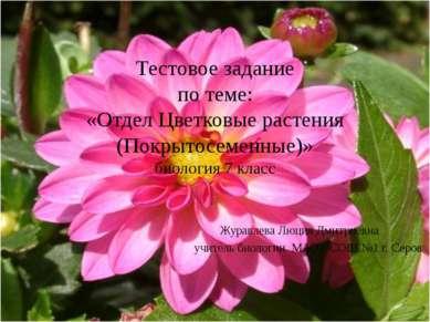 Тестовое задание по теме: «Отдел Цветковые растения (Покрытосеменные)» биолог...
