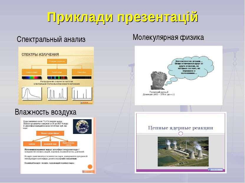 Приклади презентацій Спектральный анализ Молекулярная физика Влажность воздуха