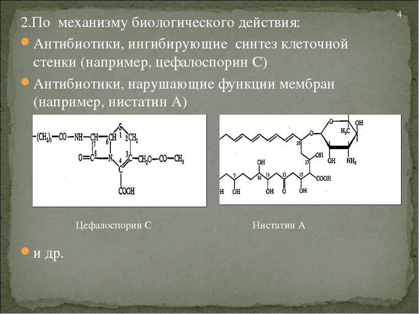 2.По механизму биологического действия: Антибиотики, ингибирующие синтез клет...