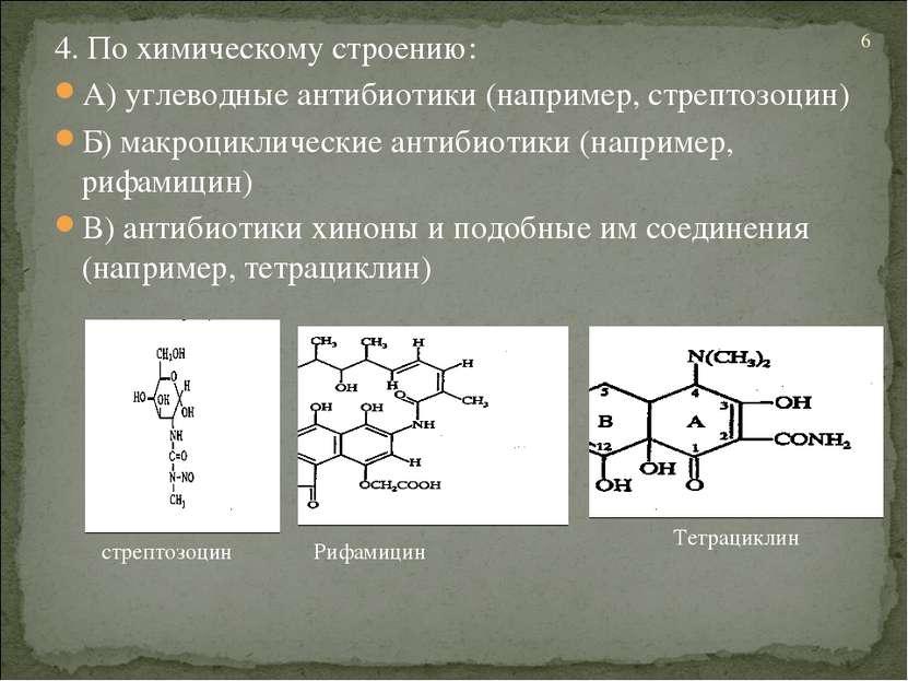 4. По химическому строению: А) углеводные антибиотики (например, стрептозоцин...