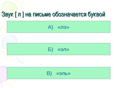 Звук [ л ] на письме обозначается буквой А) «лэ» Б) «эл» В) «эль»