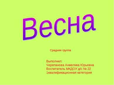 Выполнил: Черепанова Анжелика Юрьевна Воспитатель МКДОУ д/с № 22 1квалификаци...