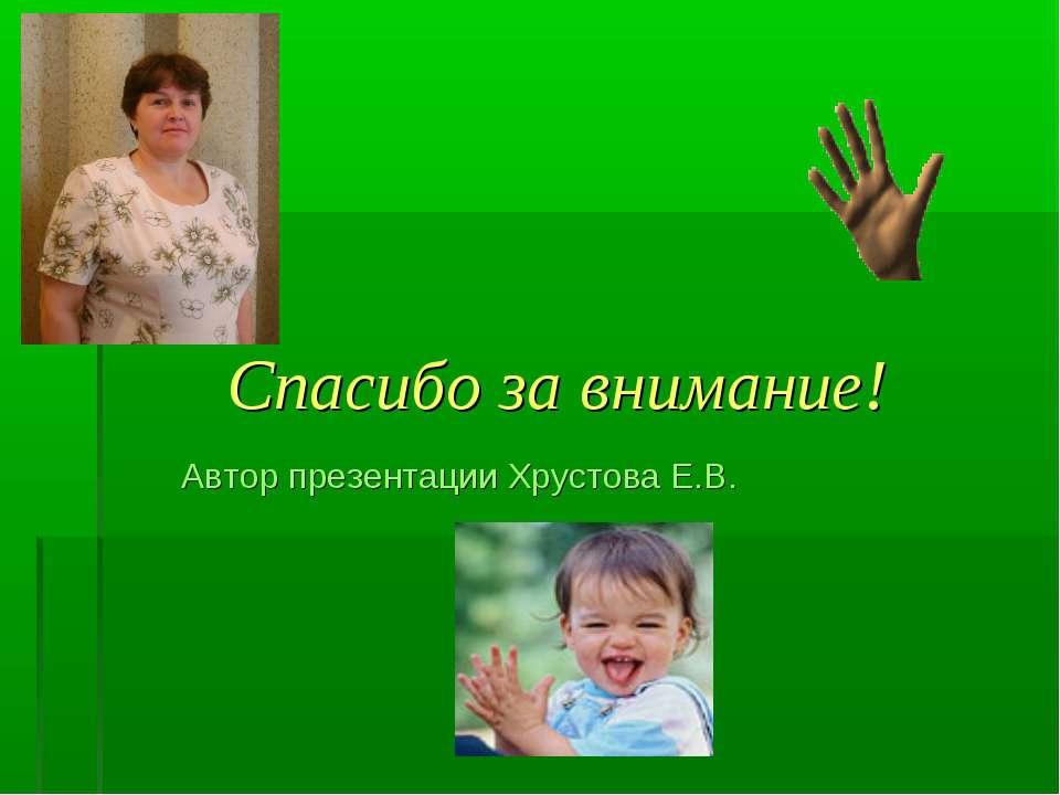 Спасибо за внимание! Автор презентации Хрустова Е.В.