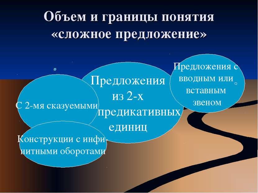 Объем и границы понятия «сложное предложение» Предложения из 2-х предикативны...