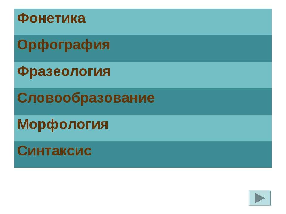 Фонетика Орфография Фразеология Словообразование Морфология Синтаксис