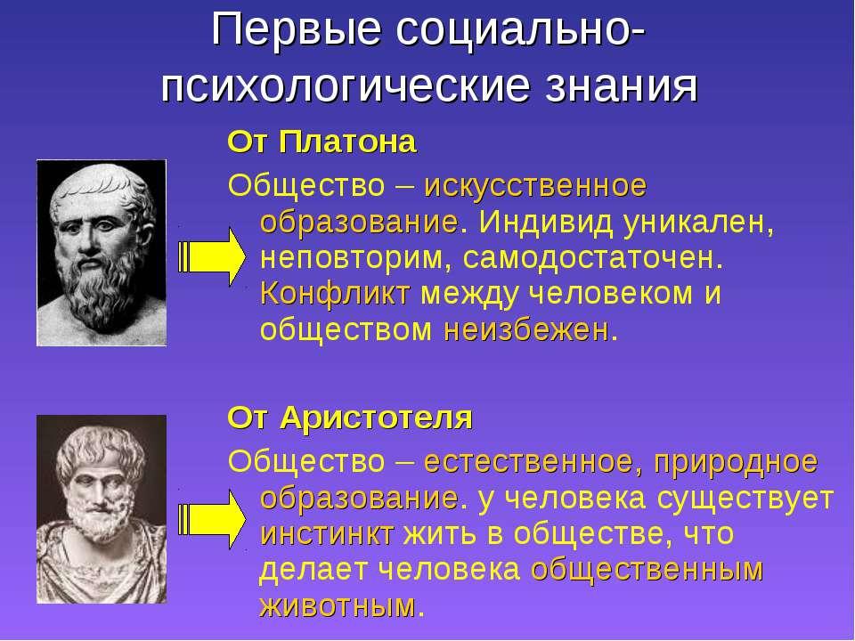 Первые социально-психологические знания От Платона Общество – искусственное о...