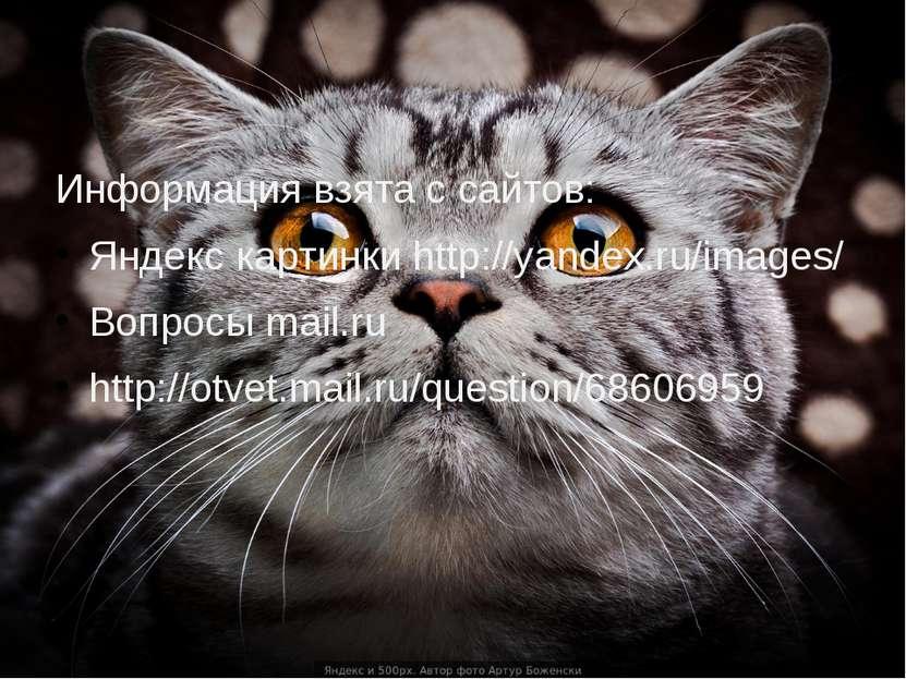 Информация взята с сайтов: Яндекс картинки http://yandex.ru/images/ Вопросы m...