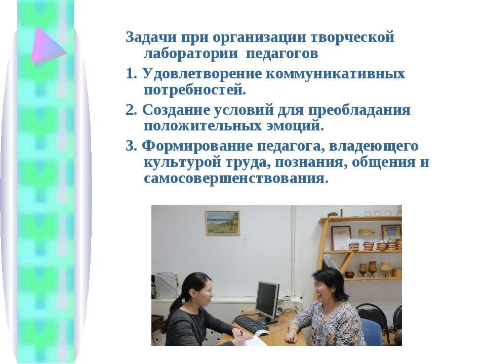 Задачи при организации творческой лаборатории педагогов 1. Удовлетворение ком...