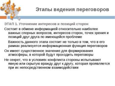 ЭТАП 1. Уточнение интересов и позиций сторон Состоит в обмене информацией отн...