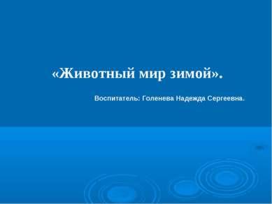 «Животный мир зимой». Воспитатель: Голенева Надежда Сергеевна.