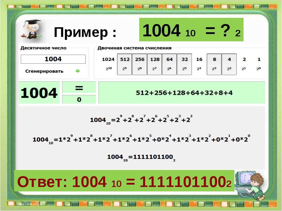 Ответ: 1004 10 = 11111011002 Сергеенкова И.М. - ГБОУ Школа № 1191 г. Москва 1...