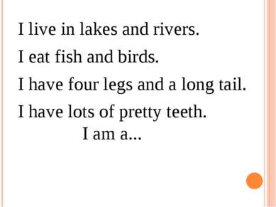 I live in lakes and rivers. I eat fish and birds.  I have four legs and a lon...
