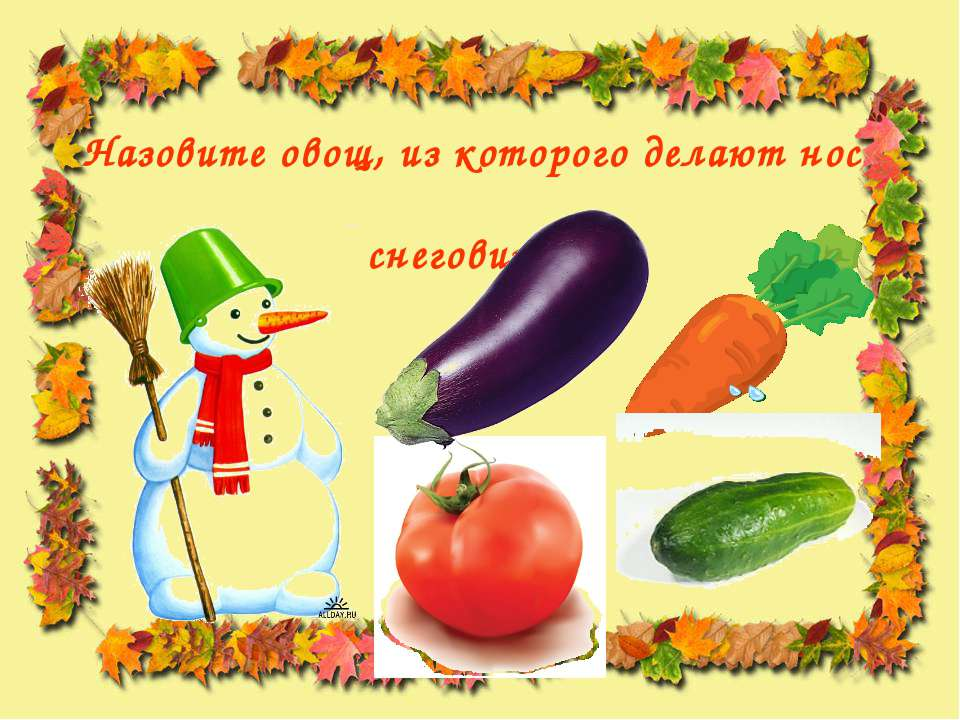 Назовите овощ, из которого делают нос снеговикам.