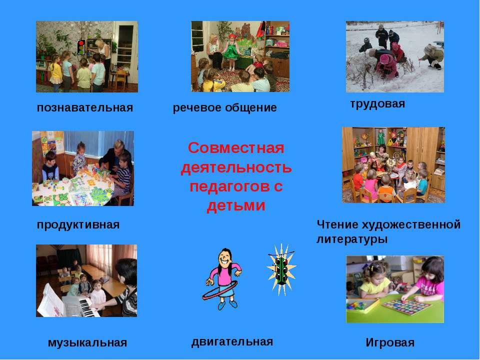 Совместная деятельность педагогов с детьми музыкальная Игровая двигательная Ч...