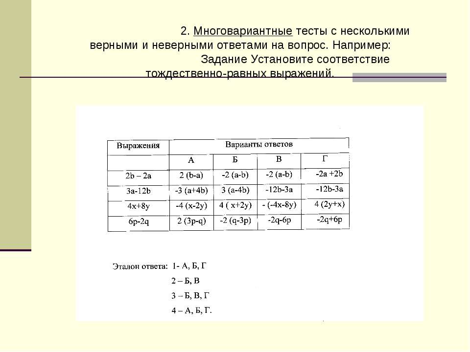 2. Многовариантные тесты с несколькими верными и неверными ответами на вопрос...