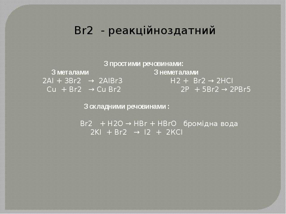 Br2 - реакційноздатний З простими речовинами: З металами З неметалами 2Al + 3...