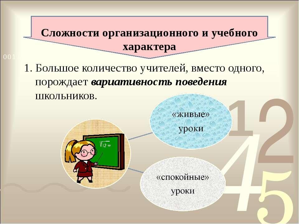 Сложности организационного и учебного характера 1. Большое количество учителе...