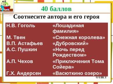 40 баллов Соотнесите автора и его героя ОТВЕТ Н.В. Гоголь «Лошадиная фамилия»...