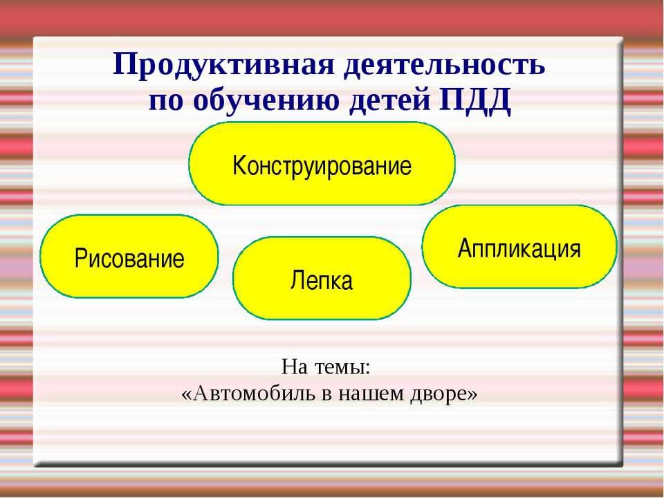 Продуктивная деятельность по обучению детей ПДД На темы: «Автомобиль в нашем ...