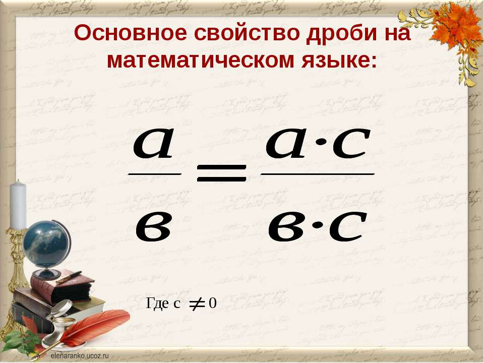 Основное свойство дроби на математическом языке: Где с 0