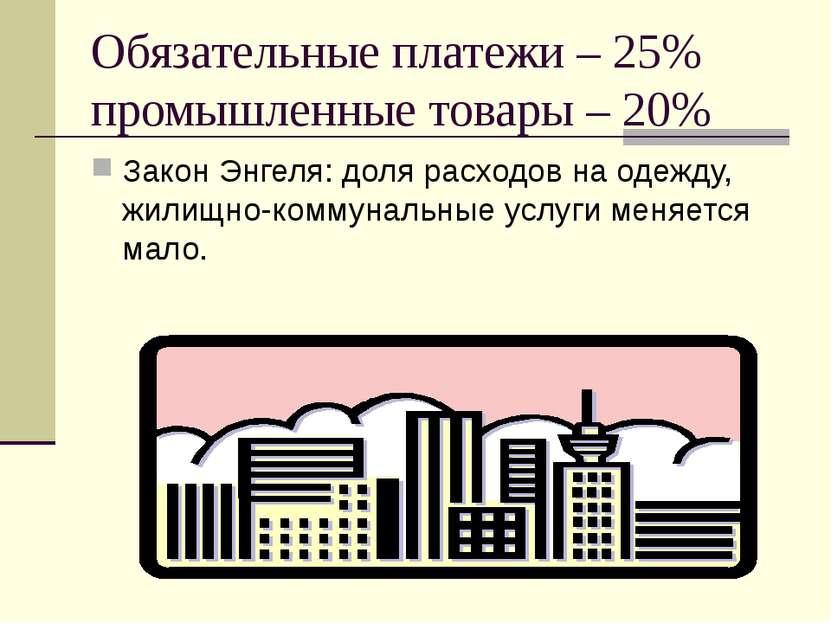 Обязательные платежи – 25% промышленные товары – 20% Закон Энгеля: доля расхо...