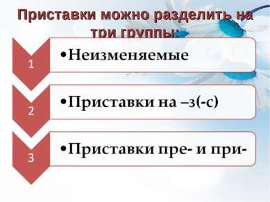 Приставки можно разделить на три группы: