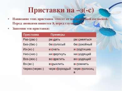 Приставки на –з(-с) Написание этих приставок зависит от последующей согласной...