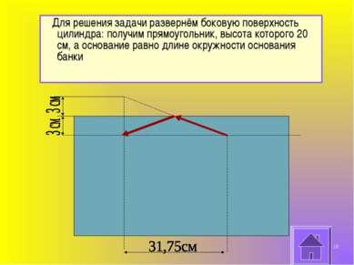 Для решения задачи развернём боковую поверхность цилиндра: получим прямоуголь...