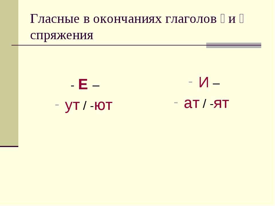 Гласные в окончаниях глаголов ׀ и װ спряжения - Е – ут / -ют И – ат / -ят