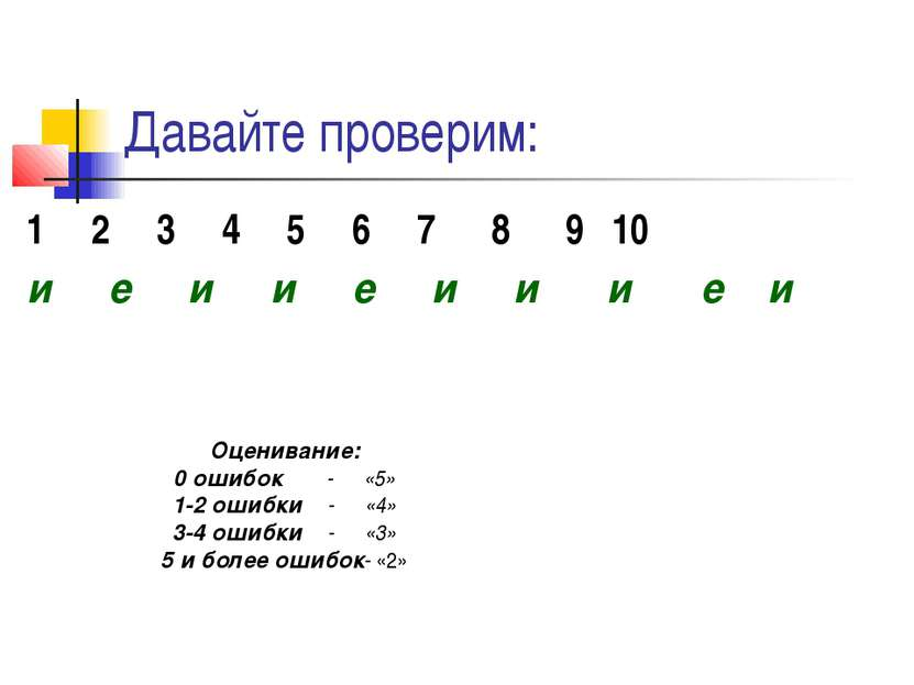 Давайте проверим: 1 2 3 4 5 6 7 8 9 10 и е и и е и и и е и Оценивание: 0 ошиб...
