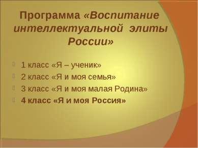 Программа «Воспитание интеллектуальной элиты России» 1 класс «Я – ученик» 2...