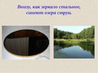 Внизу, как зеркало стальное, синеют озера струи.